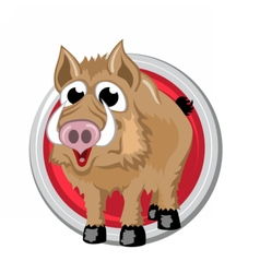 Boar Orient horoscope sign isolated in circle vector