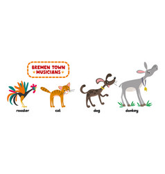 Bremen town musicians cartoon set vector