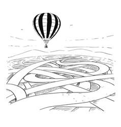 Business cartoon of hot air ballon over maze vector