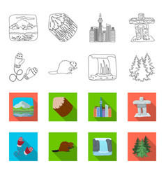 canadian fir beaver and other symbols of canada vector image