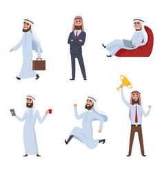 cartoon characters set of arabic vector image