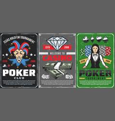 casino dice chips poker cards croupier joker vector image