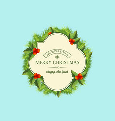 christmas coniferous wreath template vector image
