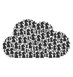 Cloud composition chess horse icons vector