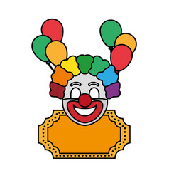 Color clown circus entertainment with decoration vector