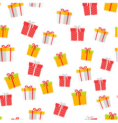colorful giftboxes cartoon seamless pattern vector image