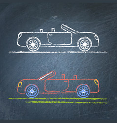 convertible car sketch on chalkboard vector image