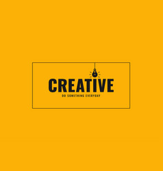 creative idea bulb banner on yellow background vector image
