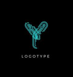 Cyber letter y for digital technology logo concept vector