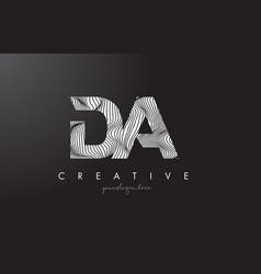 Da d a letter logo with zebra lines texture vector