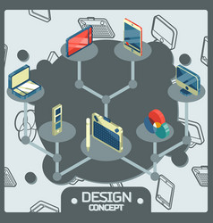 design color isometric concept icons vector image