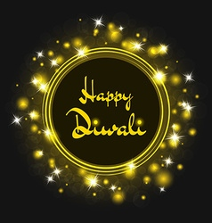 Diwali background round frame of glowing lights vector