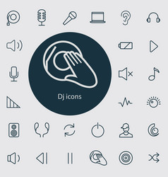 dj outline thin flat digital icon set vector image