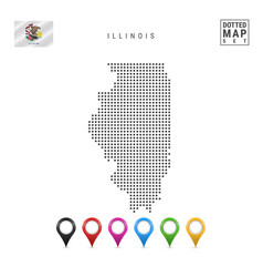 Dots pattern map illinois stylized silhouette vector