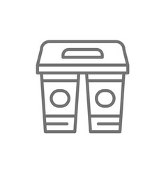drinks in cardboard cups takeaway line icon vector image