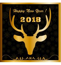 elegant happy new year card with golden deer head vector image