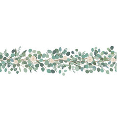 Elegant seamless border from roses and eucalyptus vector