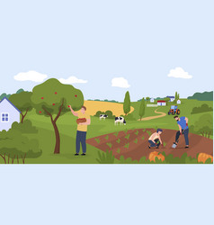 farm workers people at countryside panorama vector image