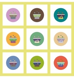 Flat icons Halloween set of Magic kettle with vector