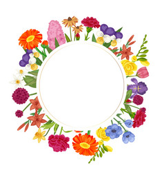 floral circle with flowers frame roses vector image