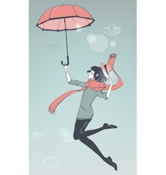 girl fly with umbrella vector image