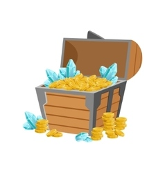 Half Open Pirate Chest WIth Golden Coins And Blue vector image