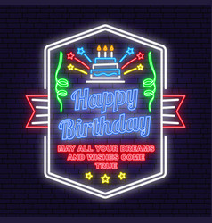 happy birthday to you neon sign may all your vector image