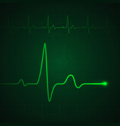 heart pulse on green display heartbeat graphic or vector image