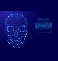 human skull front from futuristic polygonal blue vector image