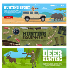 hunter animal and hunting equipment vector image