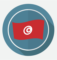 icon tunisian flag on white circle with a long vector image