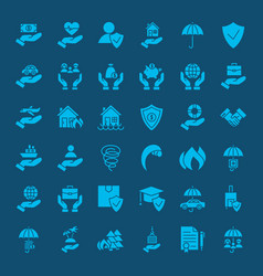 Insurance solid web icons vector