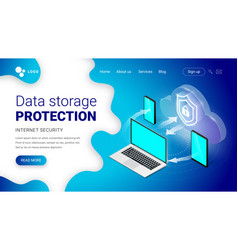 isometric data storage protection landing vector image