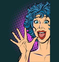 joyful surprise woman girls 80s vector image