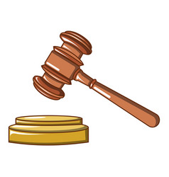 judge wood hammer icon cartoon style vector image