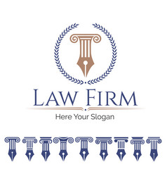 Law firm and column set vector