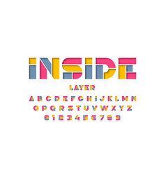 Layered font design alphabet letters and numbers vector