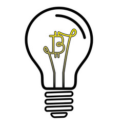 light bulb lamp with bitcoin currency symbol vector image