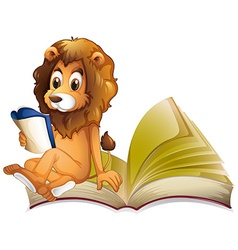 Lion reading storybook alone vector
