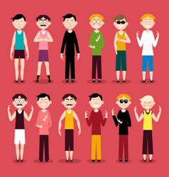 men characters flat design people vector image