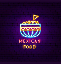 mexican food neon label vector image