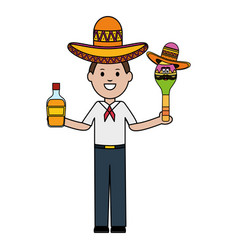 Mexican man with tequila and maraca character vector