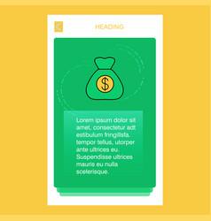 money bag mobile vertical banner design design vector image