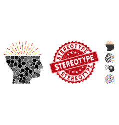 Mosaic imagination icon with distress stereotype vector