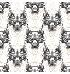 Muzzle of the wolf is a seamless pattern for the vector