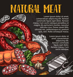natural meat and sausage chalkboard poster design vector image