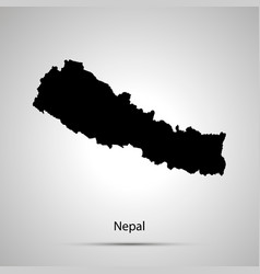 Nepal country map simple black silhouette on gray vector