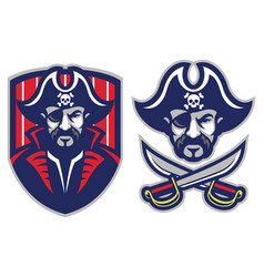one eye pirate mascot vector image