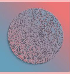 paper cut flower mandala handmade decoration vector image
