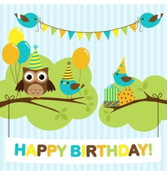 Party birds card vector image